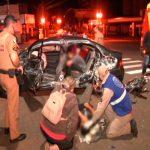 Acidente entre carro e ônibus deixa quatro pessoas feridas em Umuarama