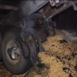 Bombeiros controlam incêndio em caminhão na PR-580