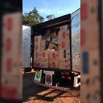 Ação conjunta entre Exército, PF e BPFron apreende caminhão com cigarros contrabandeados