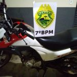 Polícia Militar recupera motocicleta roubada em Mariluz