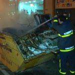 Incêndio em caçamba de lixo mobiliza equipes do Corpo de Bombeiros