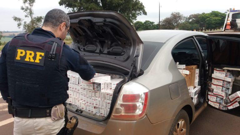 PRF apreende carro recheado de cigarros em Marechal Cândido Rondon