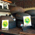 Batalhão de Fronteira apreende diversos pneus contrabandeados em Guaíra