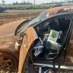 Carro capota com 1,6 mil pacotes de cigarros contrabandeados em Marechal Cândido Rondon