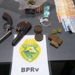 Policiais apreendem arma de fogo, maconha e encaminham três suspeitos em Terra Rica